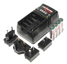 Battery Charger, Travel battery charger, smart charger for AA batteries by Ansmann 110 - 240 volt